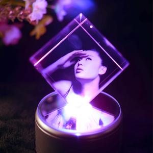水晶魔方音乐盒创意diy照片个性定制旋转摆台摆件生日礼物纪念品