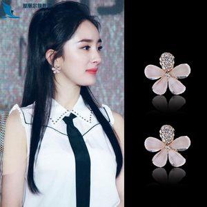 925纯银耳钉花瓣<span class=H>耳环</span>韩国时尚气质耳扣可爱五叶花朵百搭原创新品