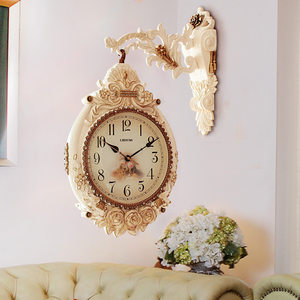 欧式双面挂钟客厅<span class=H>挂表</span>时尚家庭钟表美式个性创意吊钟时钟豪华大气