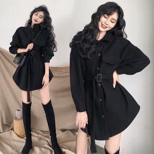 <span class=H>连衣裙</span>系带2018秋冬季新款韩版收腰黑色毛呢外套chic呢子斗篷大衣