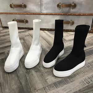 欧洲风格站2018秋季新款女鞋针织中筒靴厚底松糕字母简约显瘦短靴