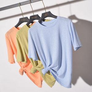 夏季韩版纯色薄款竹节棉麻短袖<span class=H>t恤</span>女宽松ins潮针织打底衫半袖上衣