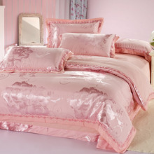 European-style Cotton Satin Jacquard four-piece set of 1.5m1.8m double bed home textile wedding embroidery quilt set of simple sheets