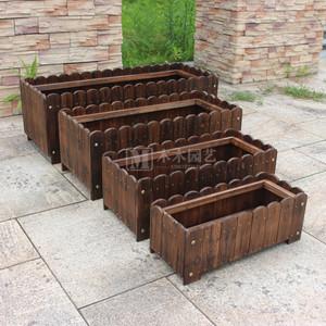 碳化实木户外阳台庭院木制花盆花园长方形<span class=H>花箱</span>种植箱花槽栅栏花盆