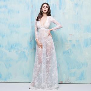 夜店女装2018新款夏季长款长袖透明蕾丝情趣透视装长裙性感礼服