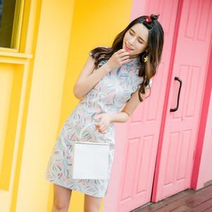 蓝云  少女<span class=H>旗袍</span>夏季2019新款女改良版学生短款时尚年轻款棉连衣裙