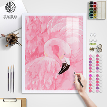 Art left one right DIY digital oil painting Flamingo living room bedroom filling hand-painted background decoration modern simplicity