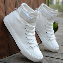 White Couple High Upper Slippers Fashion Korean Edition Canvas Shoes Over-heated Students'Leisure Shoes