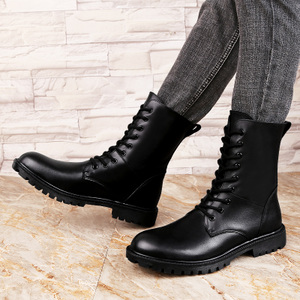 男士保暖军靴短筒<span class=H>男鞋</span>圆头棉鞋加绒系带素面大头情侣皮鞋<span class=H>鞋子</span><span class=H>靴子</span>