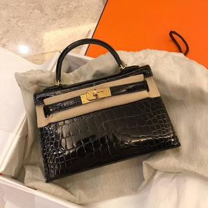 2018时尚chic真皮女包鳄鱼纹二代凯莉包女迷你小包单肩斜挎手提包