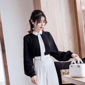 2019秋装新款女装韩版OL欧美风优雅<span class=H>领带</span>长袖雪纺衫设计感小众衬衫
