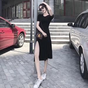 夏季短袖潮流t恤女时尚连衣裙胖妹妹大码<span class=H>女装</span>中长款开叉上衣200斤