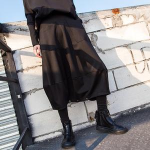 原宿风春秋新款<span class=H>女装</span>个性潮款拼接垮裤休闲宽松大码裤裙欧美七分裤
