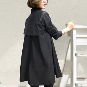 2019春装新款宽松女装中长款韩版白衬衫长袖衬衣洋气潮时尚黑色棉
