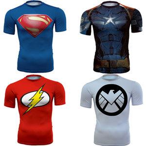 超人pro<span class=H>紧身衣</span>男锻炼健身训练服速干跑步蝙蝠侠弹力运动短袖t恤