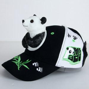 个性创意熊猫儿童帽子遮阳防晒户外<span class=H>鸭舌帽</span>熊猫亲子动物立体棒球帽