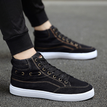Korean Autumn Men's Canvas Shoes Fashion Spring Board Shoes Fashion Men's High Uppers Teenagers'Leisure Shoes