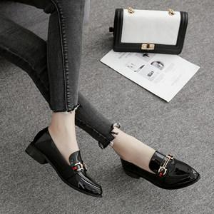 2019春季新款英伦风小<span class=H>皮鞋</span>女韩版粗跟尖头女单鞋中跟学院风女鞋子
