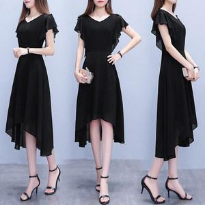 黑色连衣裙2019夏装新款女短袖夏天不规则高贵雪纺有女人味的裙子