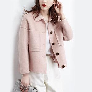 格子薄款短款双面呢女春秋2019春装小个子毛呢短外套双面羊毛大衣