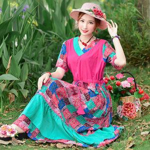 2019夏装新款原创设计民族风女装文艺复古拼色印花棉麻短袖<span class=H>连衣裙</span>
