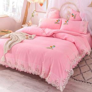 网红床上四件套全棉纯棉ins公主风蕾丝被套纯色床裙款床单200x230
