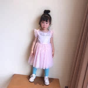 方便的拉链款出口女童粉色飞袖<span class=H>公主裙</span>纱裙蓬蓬裙连衣裙生日裙