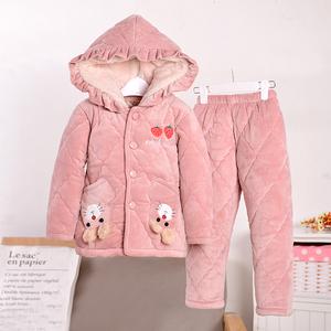 女童<span class=H>睡衣</span>冬季加厚三层夹棉儿童法兰绒女孩珊瑚绒中大童套装家居服