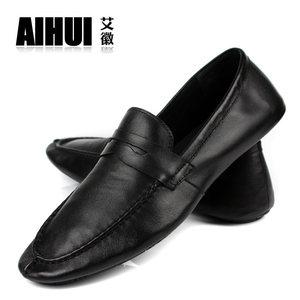 夏季商务男鞋子真皮豆豆鞋男士透气休闲鞋皮鞋青年英伦<span class=H>小白鞋</span>软皮