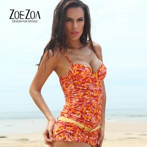 ZOEZOA品牌夏季时尚性感修身泳装带钢托带胸垫裙式女士连体<span class=H>泳衣</span>