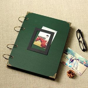 超大墨绿<span class=H>相册</span> DIY粘贴式手工厚咖啡厅手绘菜单签到本册拍立得影集