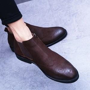 布洛克<span class=H>款式</span>雕花男马丁靴秋冬新款高帮拉链<span class=H>短靴</span>切尔西真皮磨砂潮靴