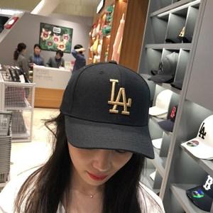 MLB<span class=H>棒球帽</span>韩国专柜LA道奇队金色刺绣男女款黑色鸭舌帽