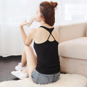 薄款修身小<span class=H>吊带</span>背心女短款工字美背外穿内搭上衣白色打底衫夏季