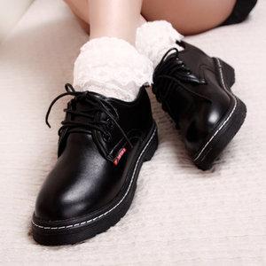 春秋内增高<span class=H>女鞋</span>英伦风圆头小皮鞋中性黑色加绒皮鞋韩版学生鞋大头