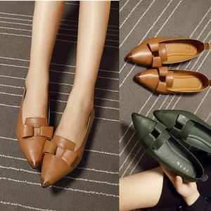 2017新款<span class=H>时尚</span>浅口平跟单鞋女 套脚软底尖头平底镂空<span class=H>女鞋</span>潮四季鞋