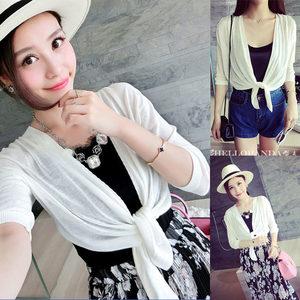 2018夏季薄款外套 外搭防晒衣 五分袖短款开衫 韩版修身针织衫女