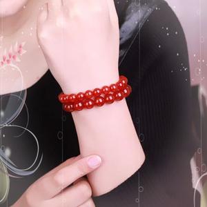 碧雅 红玛瑙<span class=H>手链</span>8mm红色本命年水晶女款手串珠子女士饰品流行简约