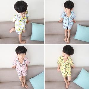 2019新款夏装儿童<span class=H>睡衣</span>男童家居服套装女童小童两件套薄夏季短袖潮