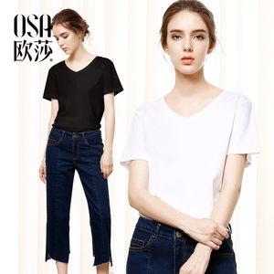 <span class=H>OSA</span><span class=H>欧莎</span>2017<span class=H>夏</span>装新款女装纯色上衣简约V领100支双丝光棉短袖T恤潮