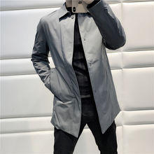 Quality Workmanship Dept. Glue-pressing Technology Pure color, Simple Body-shaping, Turn-lapel, Middle and Long Windswear Jacket for Male C1416