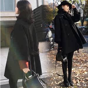 反季清仓双面呢子<span class=H>大衣</span>中长款女冬气质春装斗篷羊绒赫本风毛呢外套