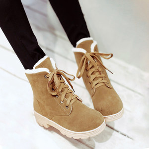 冬季雪地靴学生系带棉鞋时尚平底<span class=H>短靴</span>少女大童初中生高中生女靴子
