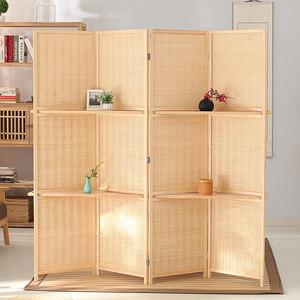 中式竹编<span class=H>屏风</span> 隔板可拆卸隔断可折叠移动办公室客厅折屏现代 玄关