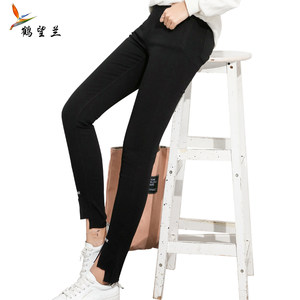 <span class=H>牛仔裤</span>子女2017新款韩版百搭款显瘦小脚中腰黑色学生春秋冬季加绒