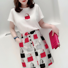 European Station Summer 2019 New Women's Suit Short Skirt T-shirt Two-piece Jacket Suit Half Skirt Fashion Leisure