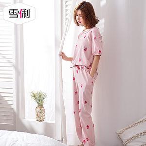 雪俐春夏季新款纯棉甜美草莓女士短袖长裤睡衣可外穿家居服套