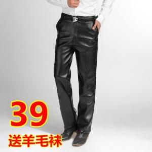 男<span class=H>皮裤</span>男士<span class=H>皮裤</span>防风裤<span class=H>男装</span>加厚加绒保暖秋冬装直筒大码长裤子促销