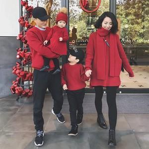辰辰妈婴童装一家三四口家庭<span class=H>亲子</span>装冬装婴儿连衣裙过年红色毛衣潮