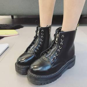 正品Dc AizWsin女鞋 牛皮女靴子真皮8孔<span class=H>短靴子</span>厚底朋克马丁靴